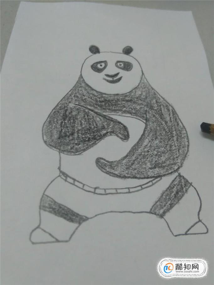 手抄报边框黑色简笔_教你画功夫熊猫-五毛网